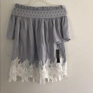 Tahari Blue Crochet Off-the-Shoulder Shirt Size XS